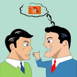 Men arguing over a gift card