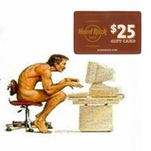 Caveman at computer with Hard Rock gift card