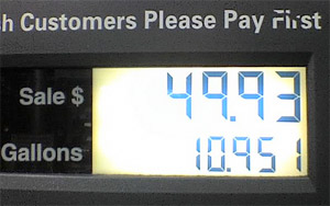 Gas pump prices