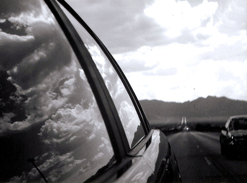 View of road through a car window
